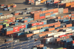 Shipping containers in the industrial port of Barcelona Stock Image