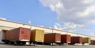 Shipping Containers at a Loading Dock royalty free stock photos
