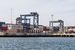 Free Shipping Containers On The Docks At Ensenada International Terminal Stock Photos - 131260353