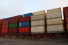 Shipping Containers placed as layered in the storage. Shipping Containers placed as layered in the storage facility royalty free stock images