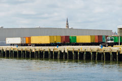 Shipping containers in port. Of Charleston, SC Royalty Free Stock Photos