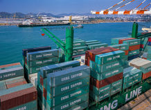 Shipping containers from Port. The Shipping containers from Port Stock Photos
