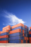 Shipping containers in port cargo Royalty Free Stock Images