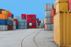 Shipping Containers and railtracks. Several shipping containers in the port of Bremen stock images