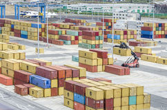 Shipping containers. Rows of colourful shipping containers in port stock photo