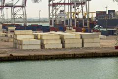 Shipping containers at sea port Royalty Free Stock Images