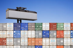 Shipping Containers Stacked Royalty Free Stock Images