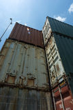 Shipping containers stacked disused Stock Photo