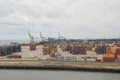 Shipping containers. Stacked on the dockside in the port of Mobile, Alabama stock photos