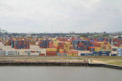 Shipping containers. Stacked on the dockside in the port of Mobile, Alabama royalty free stock image