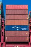 Shipping containers stacked on each other Stock Image