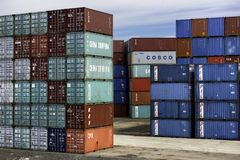 Shipping Containers stacked for export. Imported cargo shipping containers stacked for consignment export Royalty Free Stock Photography