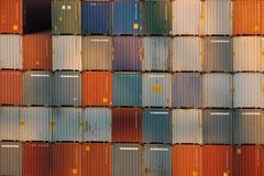 Shipping containers stacked high Royalty Free Stock Image
