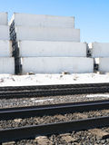 Shipping Containers and Railroad Track Stock Image
