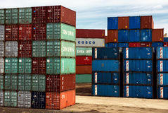 Shipping containers stacked at transport centre Royalty Free Stock Photography