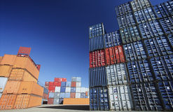 Shipping Containers In Storage Yard Royalty Free Stock Images