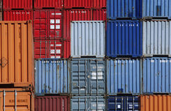 Shipping containers in storage yard Royalty Free Stock Photo