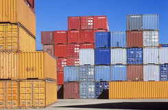 Shipping containers in storage yard Royalty Free Stock Image