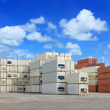 Shipping  containers transportation in port Stock Photo
