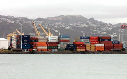 Shipping Containers, Wellington Wharf, New Zealand - Circa 2013. Shipping Containers sitting on Wellington Wharf for freight via ship, rail and road Stock Photos