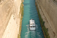Shipping through Corinth Canal Royalty Free Stock Image