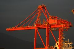 Shipping Crane with Black Sky Stock Photography