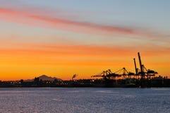 Shipping crane and mt. baker at dawn Stock Image