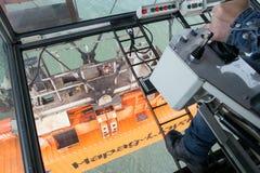 Shipping crane operator Royalty Free Stock Photo