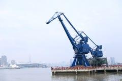 Shipping Cranes and Lupu Bridge Shanghai stock images