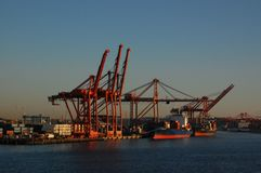 Shipping Cranes on a Waterfront royalty free stock image