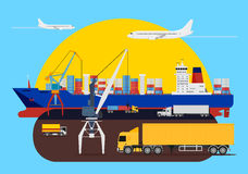 Shipping creative composition in harbour. Shipping composition idea with a delivery heavy trucks, cranes loading the cargo ships and aircraft passing by Royalty Free Stock Photo