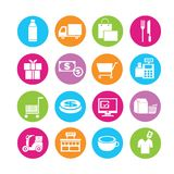 Shipping and customerservice icons. Set of 16 shipping icons in colorful buttons Royalty Free Stock Image