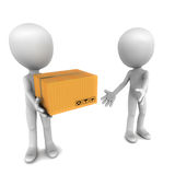 Shipping delivery. Little 3d people handling over box to each other for further delivery, cargo changing hands, concept of teamwork in courier and shipping Stock Photo