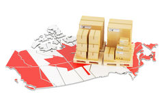 Shipping and Delivery from Canada concept, 3D rendering. Shipping and Delivery from Canada isolated on white background Royalty Free Stock Photo