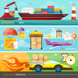 Shipping, delivery car, ship, plane Royalty Free Stock Photos
