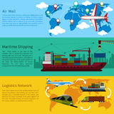 Shipping, delivery car, ship, plane. Air mail, delivery of the ship, maritime shipping and logistics network flat design concepts on banners. Shipping, delivery Stock Images