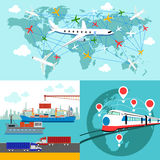 Shipping, delivery car, ship, plane Royalty Free Stock Images