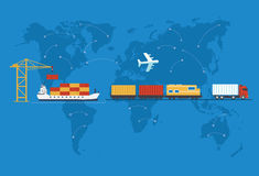 Shipping, Delivery Car, Ship, Plane Royalty Free Stock Image