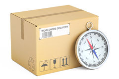 Shipping and delivery concept, parcel and compass. 3D rendering Royalty Free Stock Photo