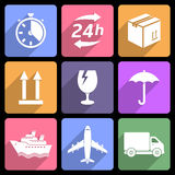 Shipping and delivery flat icons Royalty Free Stock Photo