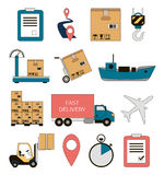 Shipping and delivery icons set Royalty Free Stock Photo
