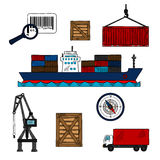 Shipping and delivery industry icons Stock Images