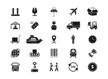 Shipping, delivery and logistics vector icons. Retail and transportation pictograms Royalty Free Stock Photo