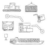Shipping and delivery service sketch icons Royalty Free Stock Image