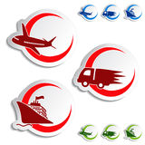 Shipping, delivery stickers - car, ship, plane Stock Photo