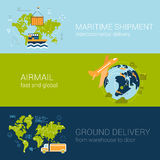 Shipping delivery types concept flat web template infographics. Logistics shipping delivery types concept flat web banners template set vector illustration Stock Photography