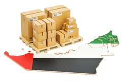 Shipping and Delivery from UAE concept, 3D rendering Royalty Free Stock Images