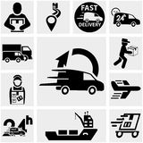 Shipping and delivery vector icons set on gray. Stock Image