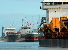 Shipping docked and unloading Royalty Free Stock Photo