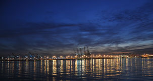 Shipping docks. This is a night shot of shipping docks Royalty Free Stock Images